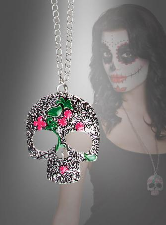Skull Necklace with Flower Pattern