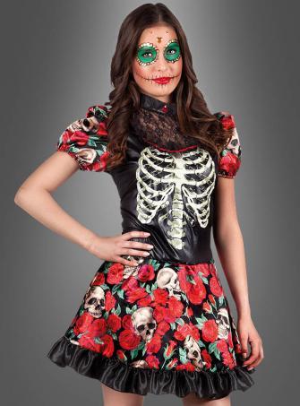 Totenkopf Kleid mit Rosen