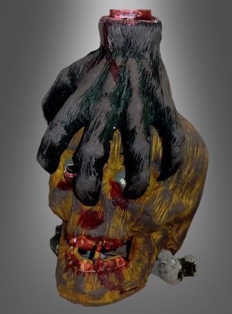 Totenkopf Kerzenhalter mit Hand