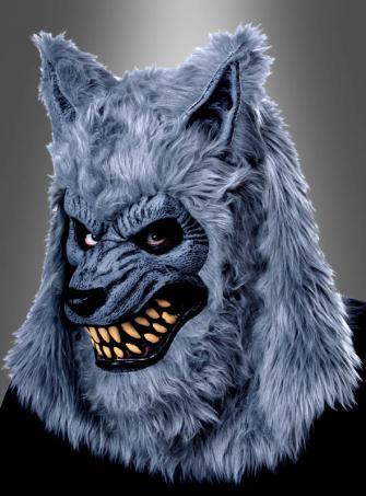 Bewegliche Wolfsmaske grau Werwolf