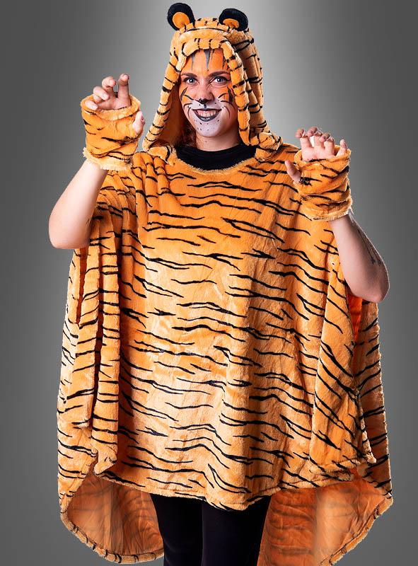Tiger Poncho aus hochwertigem Plüsch