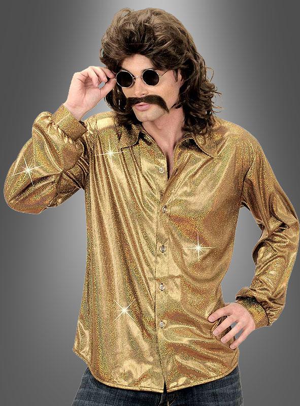 Herren Kostüm Hemd Glitzerhemd Schlager Disco Show 70er Jahre 80er Jahre