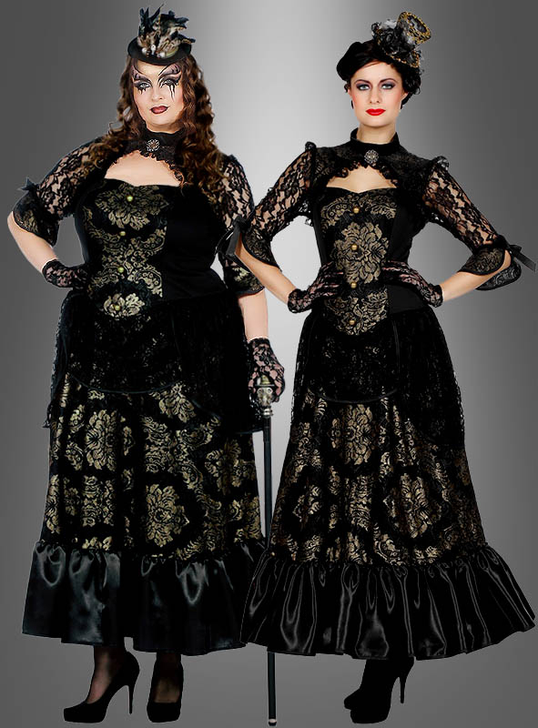 Gothic Kleid lang schwarz-gold bei » Kostümpalast