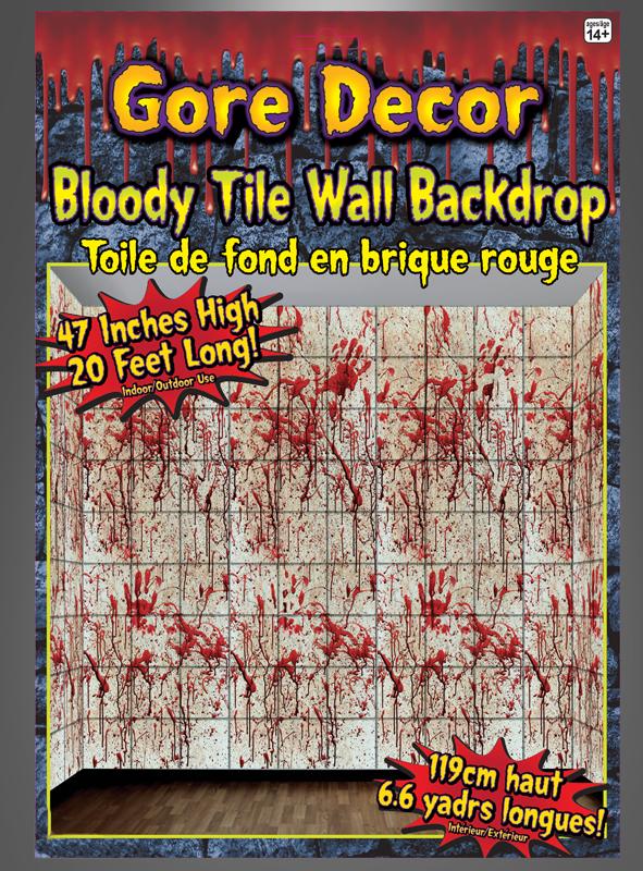 Wanddeko Blutige Fliesen Fur Halloween Und Horrorparty