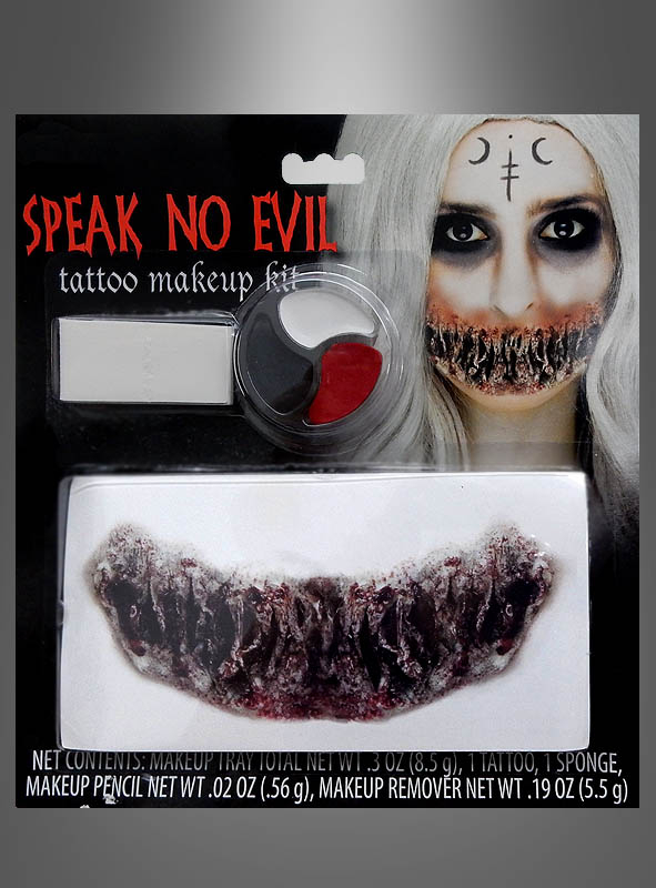 Horror Makeup Tattoo Speak No Evil