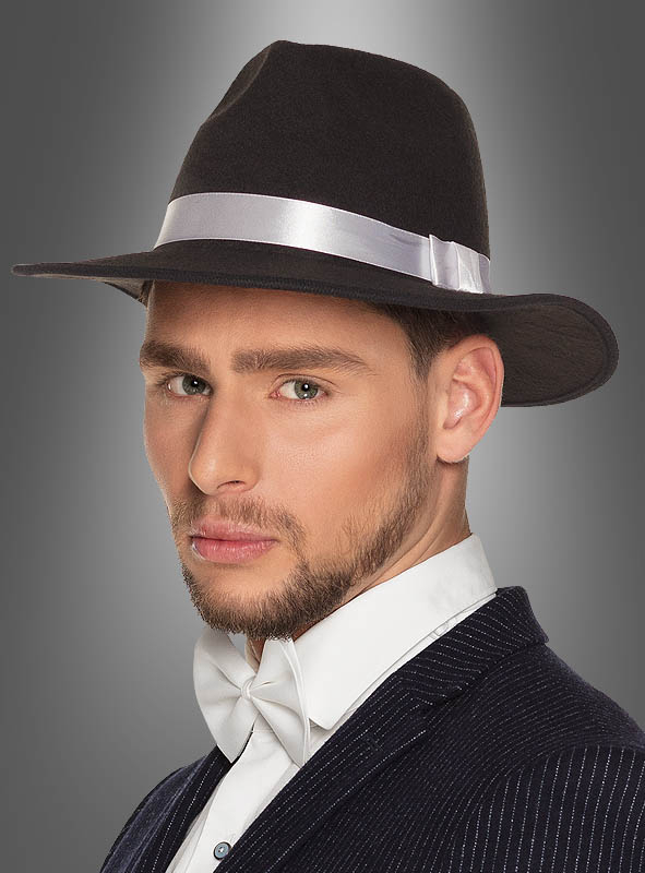 Gangster Hat Fedora with white Hatband » Kostümpalast.de a4b1c07be45
