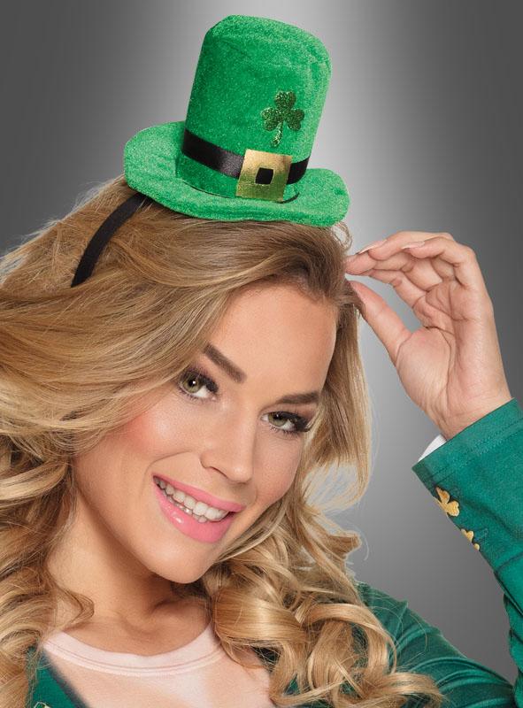 Mini Hut grün mit Kleeblatt für St. Patricks Day Kostüm