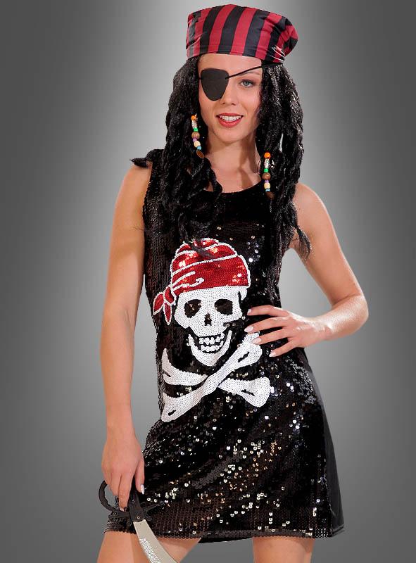 Piraten Paillettenkleid mit Totenkopf für Damen Karneva
