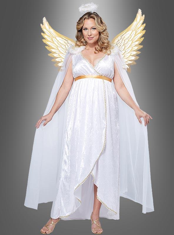 Engelkleid weiß-gold für Herren Weihnachten Karneval Fasching Kostüm Pannesamt