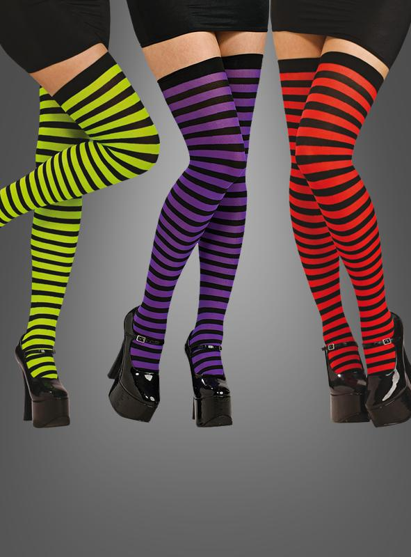 Black/Red Striped Thigh Highs Overknees