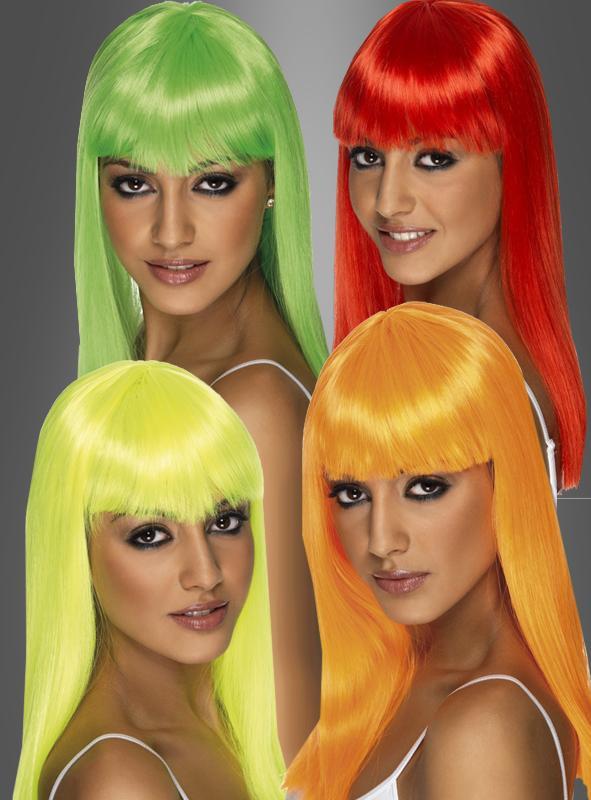 Glamour Leucht Perücke Neonfarben