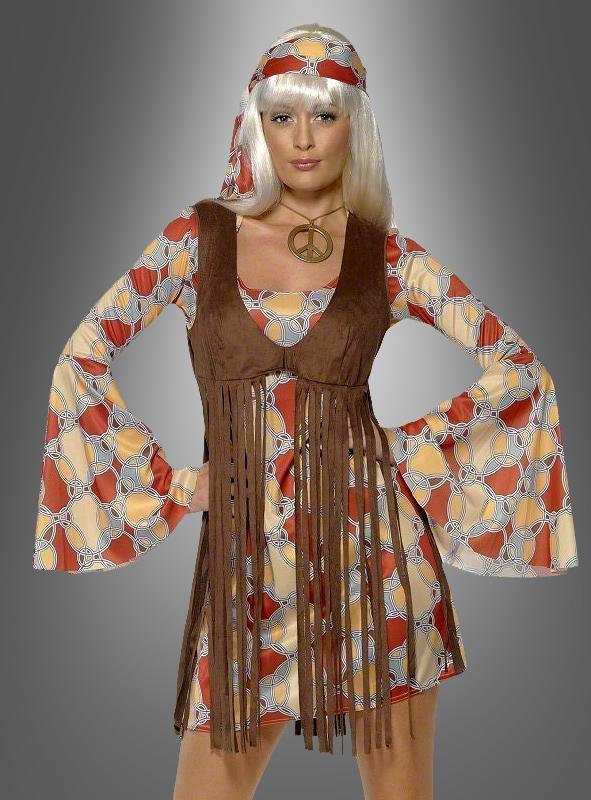 Hippiekleid mit Fransenweste 60er Kostüm