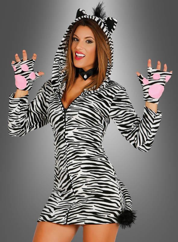 Sexy Zebra Kostüm mit Kapuze