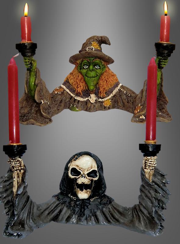 Kerzenhalter Hexe oder Sensenmann