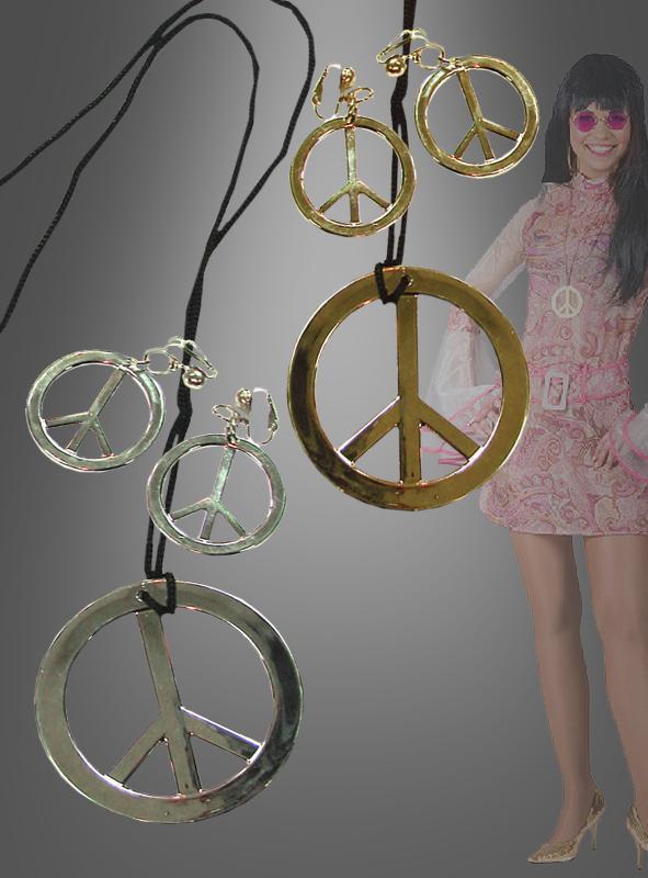 Hippie Kette und Ohrringe Peace