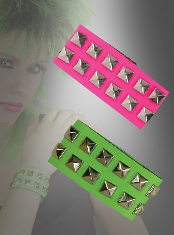 Neon Nietenarmband pink oder grün
