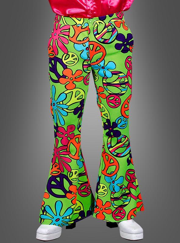 Herren Neon Peace grün Schlaghose