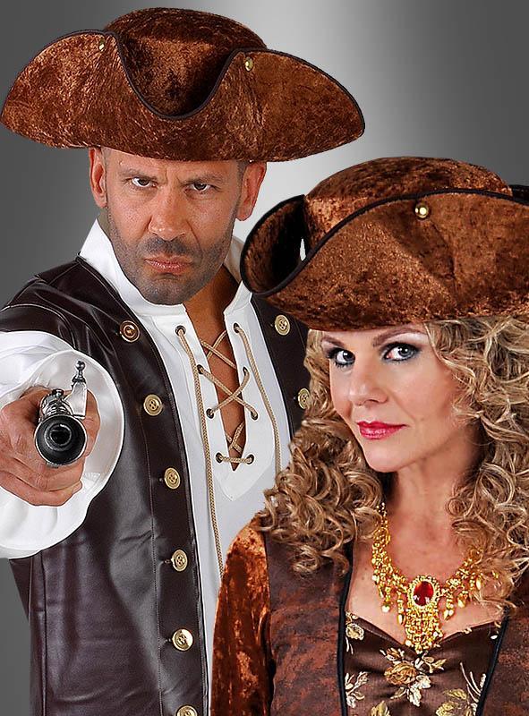 Piratenhut Dreispitz braun