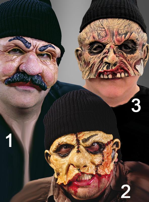 Mütze mit Horror Latex Halbmaske