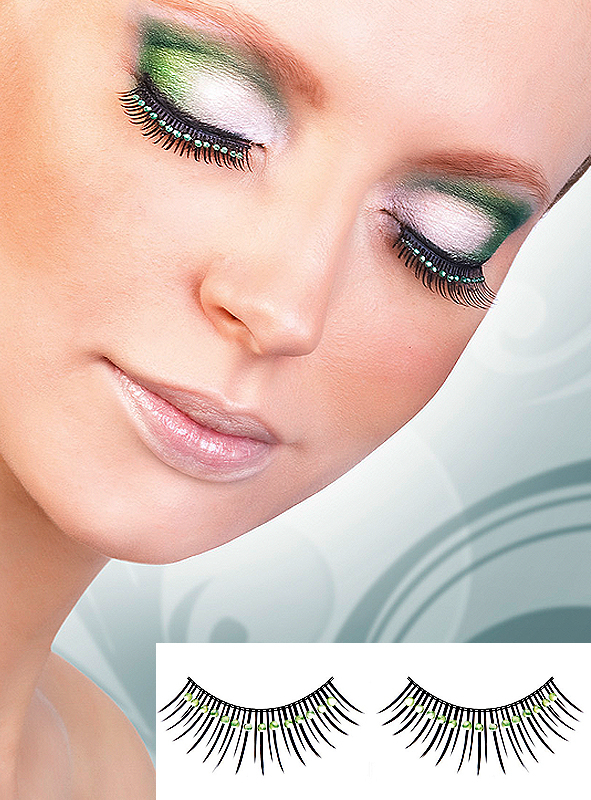 Rhinestone black green Eye Lashes