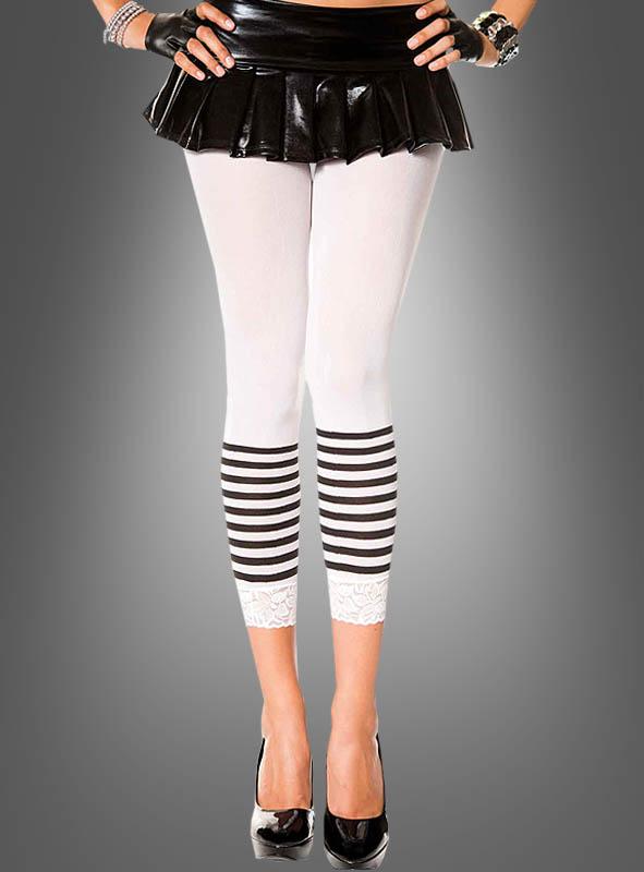 White Capri Leggings with Stripes