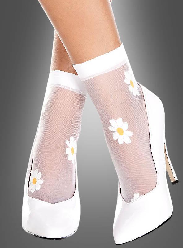 Weiße Socken mit Blumenmuster