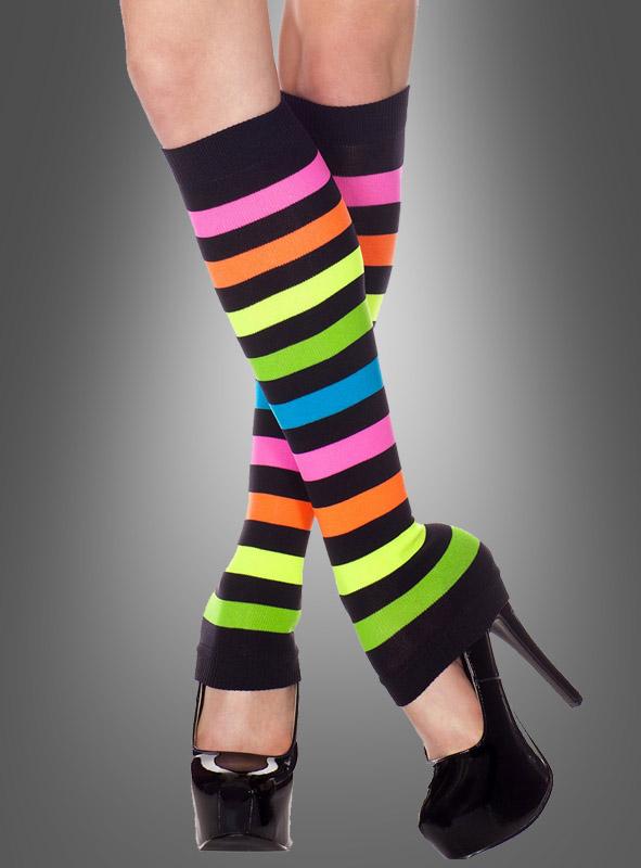 Neon Stripes Knee Hi Leg Warmers