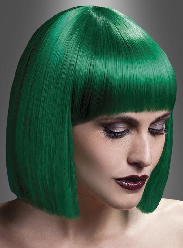 Lola Perücke Deluxe Pagenschnitt grün