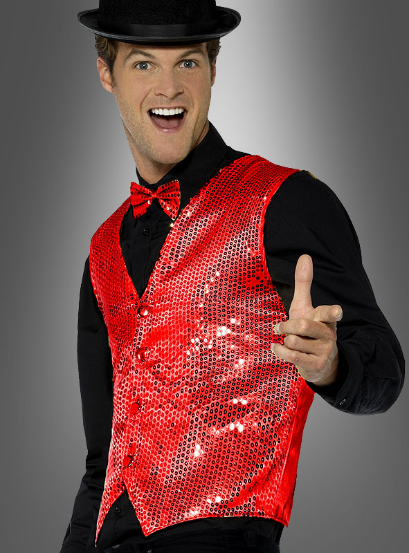 Vest red with Sequins