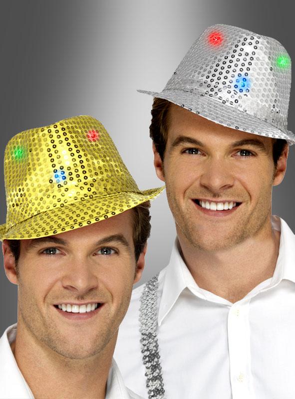 Paillettenhut silber oder gold mit LED