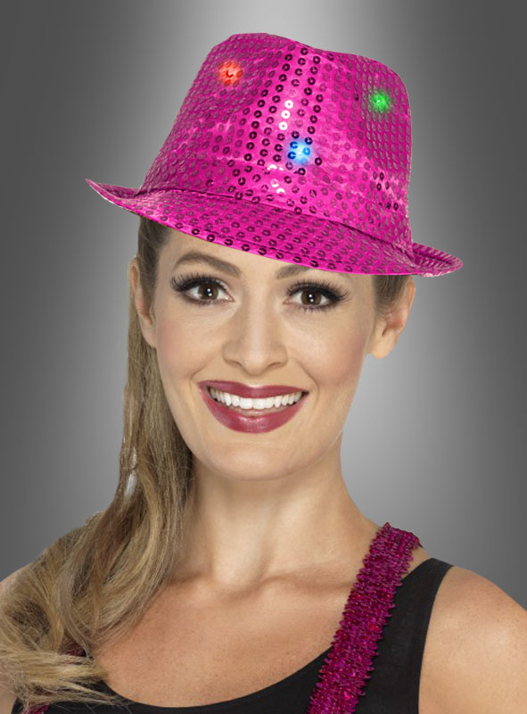 Partyhut pink LED mit Pailletten für Karneval & Party