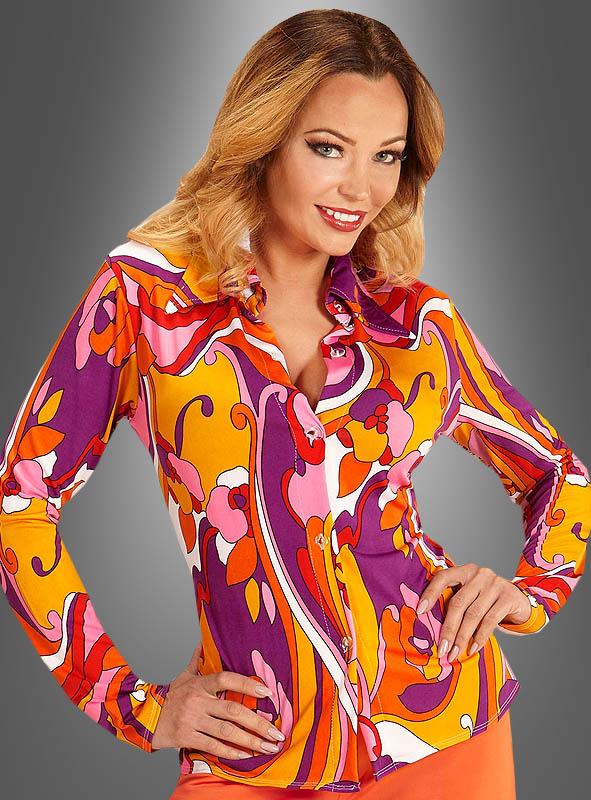 70er bunte Bluse Andrea