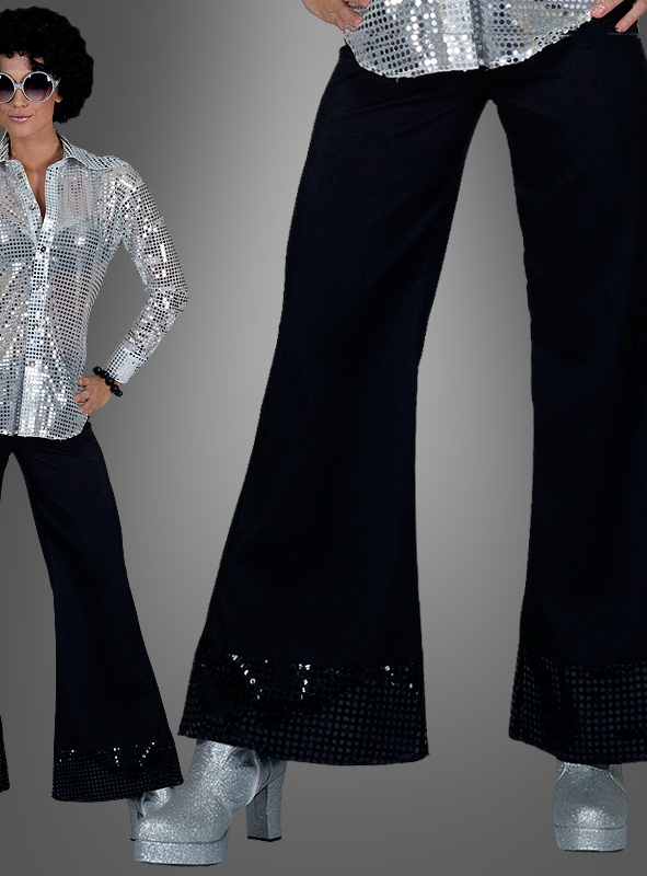 Black Sequin Trousers for Women
