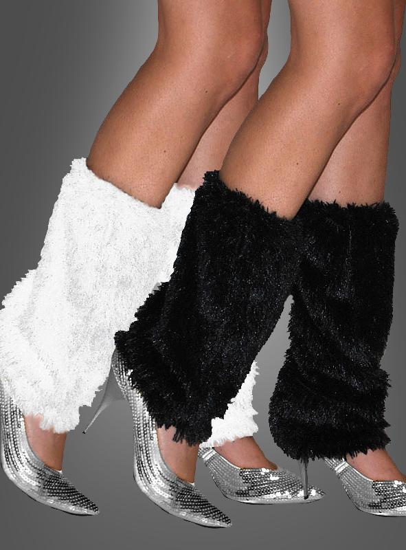 Legwarmers plush black or white