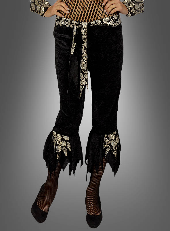 Goldy Pirate Pants with Skulls