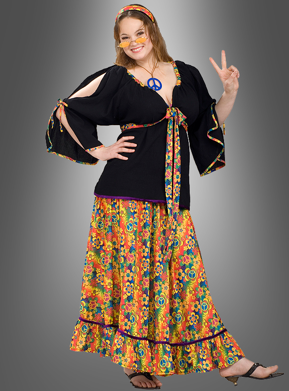 XXL Hippie Mama Blumenkind Kostüm