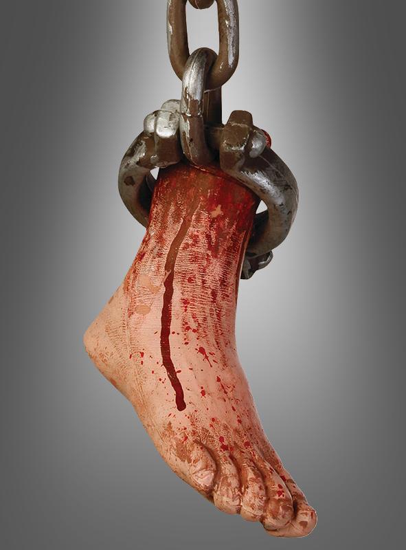 Dekoration Horror blutiger Fuß in Kette