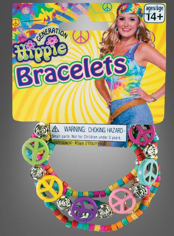 Hippie Peace Armband bunt mit Holzperlen