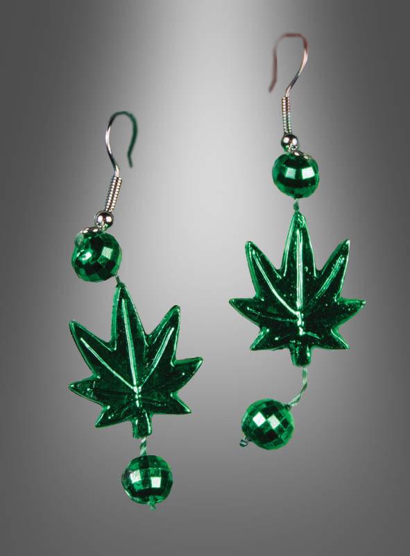 Cannabisblatt Ohrringe zum Hippiekostüm
