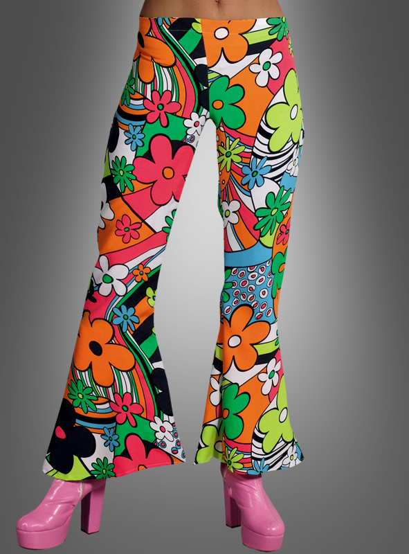 Neon Flowers 70s Lady Pants