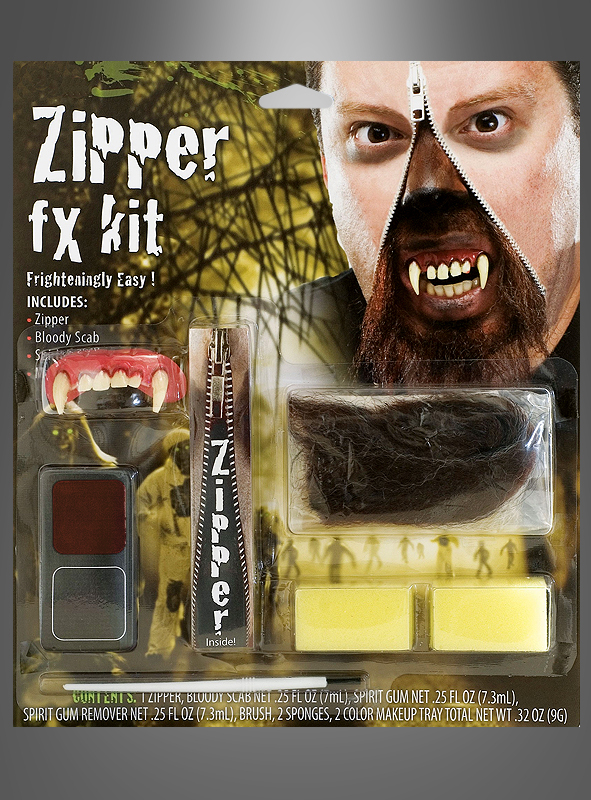 werwolf schminkset make up kit mit reissverschluss zipp. Black Bedroom Furniture Sets. Home Design Ideas