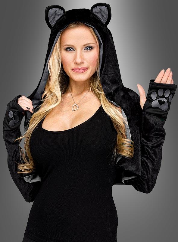 Cat Bolero with Hood black-gray