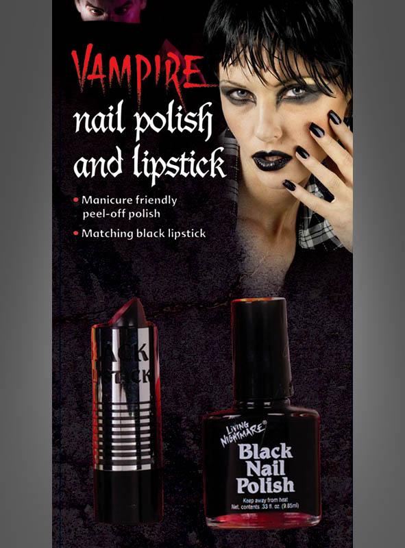 Gothc black Nail Polish and Lipstick