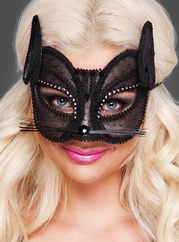 Schwarze Augenmaske Katze