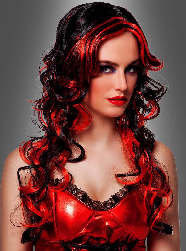 Perücke Teufelin rot schwarz