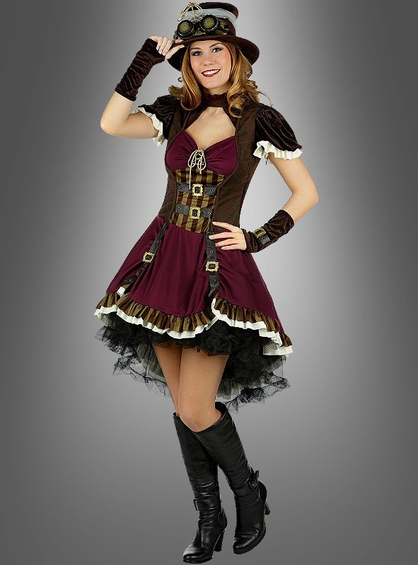 steampunk lady kostum mit hut