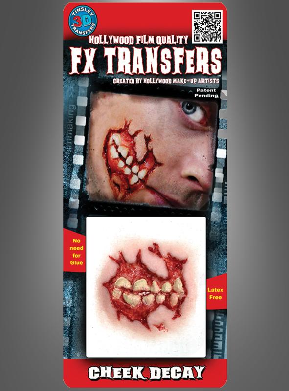 Zombie Wange Klebewunde Tinsley Transfers