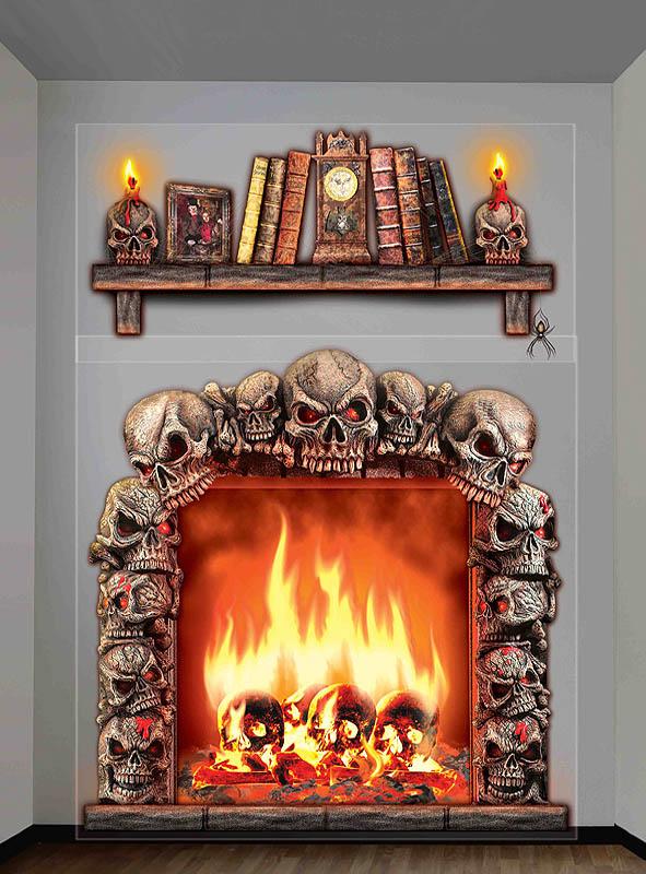 halloween deko wandfolie kaminfeuer. Black Bedroom Furniture Sets. Home Design Ideas