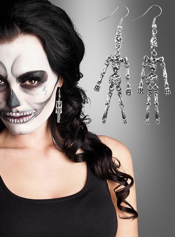ohrringe skelett f r halloween kost m. Black Bedroom Furniture Sets. Home Design Ideas