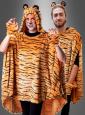Tiger Poncho aus hochwertigem Plüsch S-XXXL